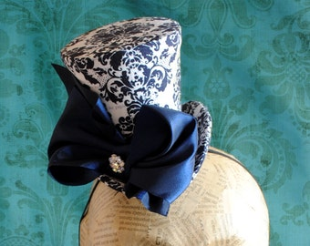 Victorian Mini Top Hat in Black and White Damask with Blue Bow - Tea-party Mini Top Hat - Ready to Ship