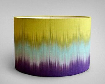 Ikat Drum Lampshade - Aubergine and Lime - By Ptolemy Mann