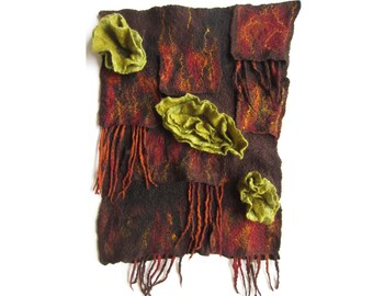 "Hand made, textile art / wool-felt picture / felted wall hanging ""Lichen on Bark"""