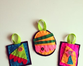 FELT ORNAMENTS, Set of 3 . . .
