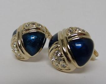 Blue Enamel and Rhinestone Vintage Earrings