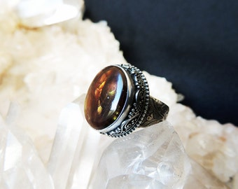 Fire Agate Silver Ring US 7.5