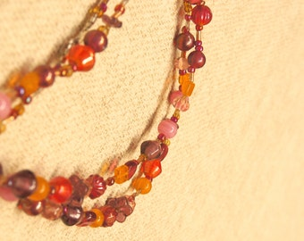 Pink Orange & Some Beaded Necklace