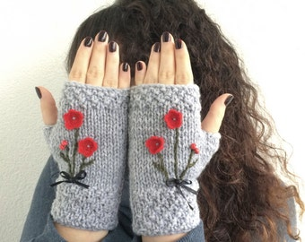 Gray Fingerless Gloves Red Flowers Embroidered Gloves Cozy Mittens Handknit Gloves Handwarmer Winter Fashion Nicknacky