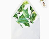 Watercolor Leaves Envelope Liner, DIY Printable Garden Wedding Invitations