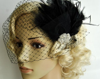 Veil and fascinator Downton Abbey 1920's flapper headpiece-  black, The Great Gatsby, birdcage veil set, Feather fasciantor