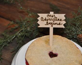 Wedding cake topper, adventure begins, Custom wedding topper, adventure wedding sign