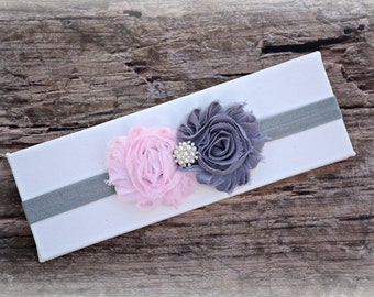 Gray Pink Flower Headband Infant Baby Toddler Girl Birthday Prop Gift Party Wedding