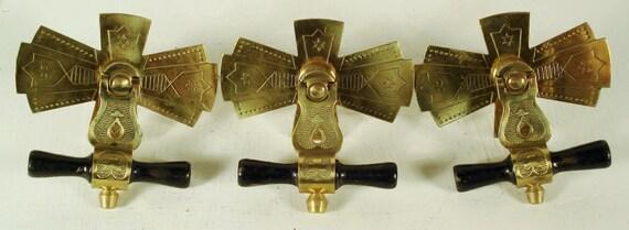 Antique Victorian Eastlake Brass Amp Wood Drop Drawer Pulls
