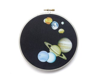 Solar System Montage in Embroidery Hoop. Solar System Print, Solar System Wall Decor, Planet Print, Planet Art, Planet Wall Hanging