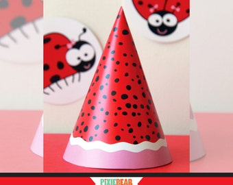 Ladybug Birthday Hat - Ladybug Party Hat - Ladybug Hat - Printable Party Hat - Ladybug Party - Ladybug Birthday (Instant Download)