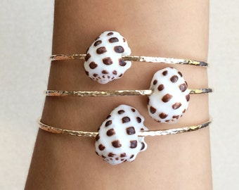 Hawaiian Drupe Shell Bangle - 14k gold filled OR sterling silver