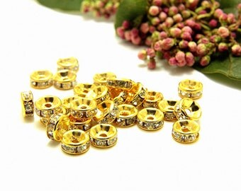 4mm Rhinestone Rondelles, 50 pcs Rhinestone Rondelle Spacers, Gold Rondelle, Zinc Rhinestone Rondelle Beads, Clear Rhinestones, Rondelle