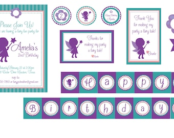 Fairy Party Printables-Purple Fairy Birthday Party-Fairy Garden Party- Fairy Theme Birthday Party- Pixie Party