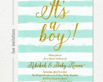 it's a boy baby shower invitation, pastel blue and white watercolor stripes, gold glitter boy baby shower invite, baby sprinkle 5x7 S13
