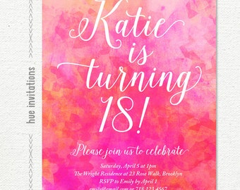 pink watercolor 18th birthday party invitation, pink coral ombre geometric teen birthday invitation, printable 5x7 jpg pdf digital file s24