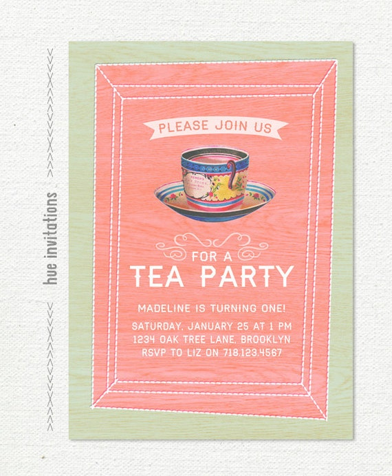 Tea Party First Birthday Invitation Girls Tea Party Invite
