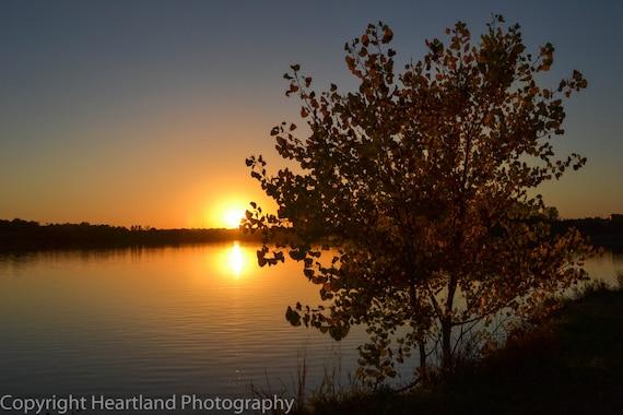 Lake Photography, Sunset Reflection, Autumn Colors, Fall Tree, Nebraska Night, Fine Art Print, Midwest Wall Art, Landscape Image, Sun Photo