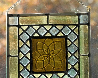 recycled bottle glass leaded stained glass medallion window panel