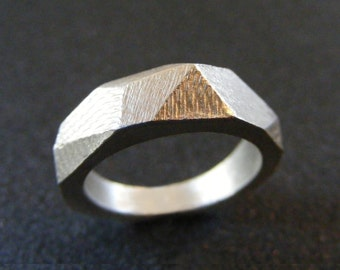 Faceted ring Geometric ring  Sterling silver Ring
