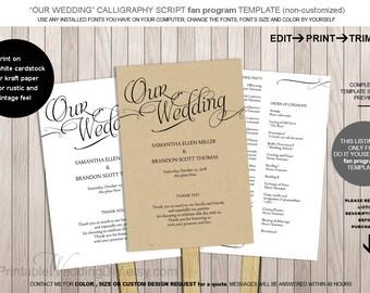 100 Diy Wedding Program Fans Template Paper Fan Paddle