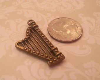 40x20mm Antique Bronze Music Harp Pendant/Charm - 1 piece