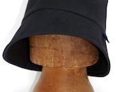 Italian asymmetric velvet rain cloche with fleecy lining