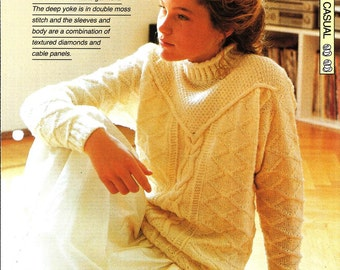 "Knitting pattern - Woman's ""Cable Classic"" sweater jumper - Instant download"
