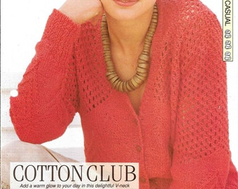 """Knitting pattern - Woman's """"Cotton Club"""" cardigan - Instant download"""