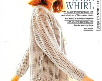 """Crochet pattern - Woman's """"Lace Whirl"""" cardigan - Instant download"""
