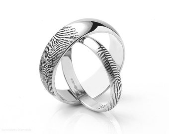Fingerprint Wedding Ring - D Shape - 18ct White Gold