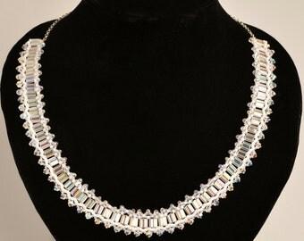 Jewelry Necklace Beadwork necklace White necklace Swarovsky crystals necklace Wedding necklace