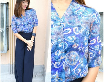 Vintage Blouse/ Mystical Sea Blouse/ Small Blouse/ Medium Blouse/ Blue Blouse/ Japanese Blouse/ Spring Summer Blouse/ Sheer Airy Blouse/ S/M