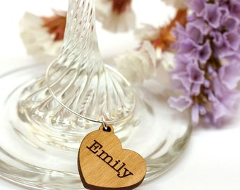 Wine Glass Charms, Wedding Drinks Charm, Wooden Heart Charm, Seating Plan Names, Wedding Favours, Set of 10 Personalised Wooden Name Charms
