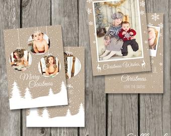 Christmas Card Templates - 5 x 7 Christmas Cards - Kraft Christmas Template Designs for Photographers - DIY Photography Photo Cards - CS06