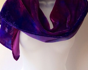 Purple scarf, hand painted silk velvet scarf