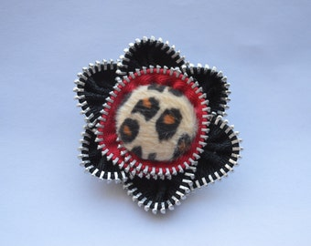Zipper Flower Brooch- Leopard and Red