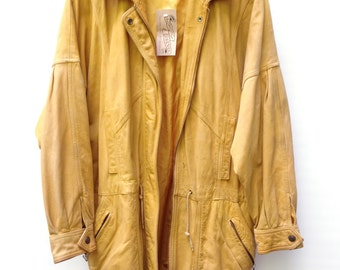 Vtg 80s AMAZING LEATHER JACKET in Butter Yellow Long Zip Up Coat with Snaps and Drawstring Waist