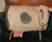 SALE Cow Animal handmade Primitive Noahs Ark Zoo Doll