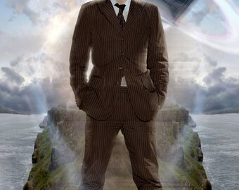 """Doctor Who UK Imported 17"""" X 11"""" 10th Doctor and Spinning TARDIS Poster Print"""
