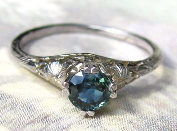 Antique Engagement Ring Petite Blue Green Colored Stone 14K