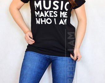 MUSIC  tshirt t shirt with v neck and sleeve tabs, woman man, cotton