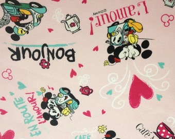 SALE-Mickey and Minnie L'amour, Disney fabric, Made in Japan.
