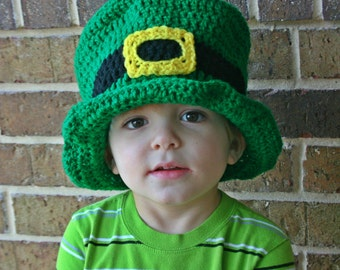 Leprechaun Hat, St. Patrick's Day, Crochet Top Hat, Green Top Hat, Saint Patricks Day, gift, Irish, photo prop, baby, kid's leprechaun hat