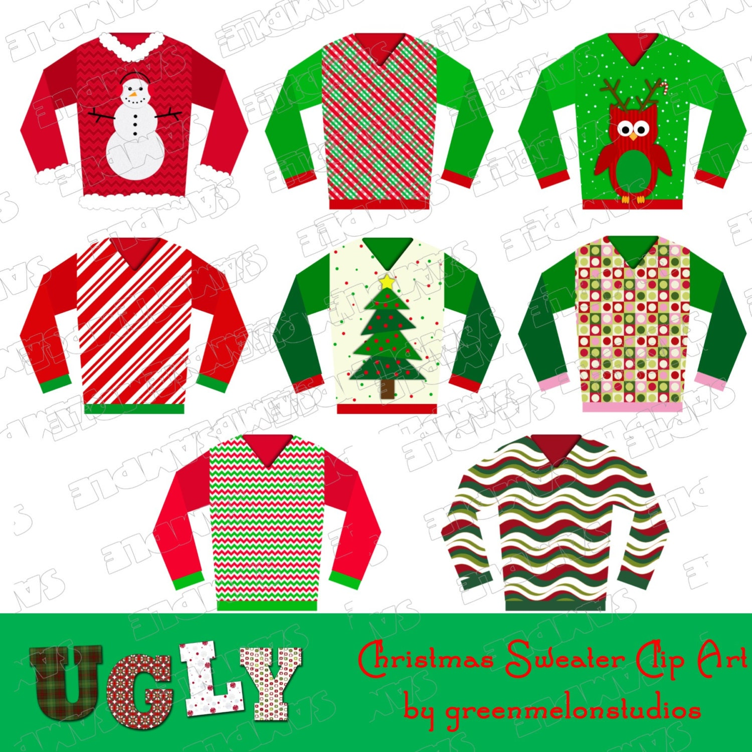 Request a custom order and have something made just for you Ugly Christmas Sweaters Clipart