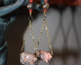 Piggies on Chains - Jasper Earrings