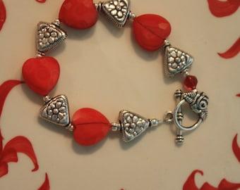 Valentine Faceted Glass Hearts Bracelet