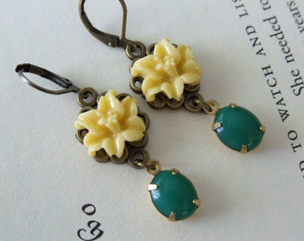 Dangle Orchid Earrings, Yellow Orchids, Green Glass Dangle Earrings, Vintage Inspired Jewelry