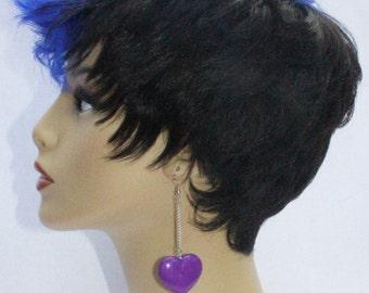 Heart Dangle on Chain Earrings