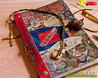 Handmade Journal in a Turkish Marbleizing/Textured Technique in Reds and Yellows  with Collaged Leaf Skeletons, and Natural Embellishments